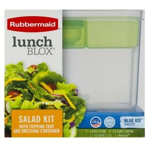 NEW Rubbermaid Lunch Blox Salad Kit with Topping Tray Dressing Container Ice