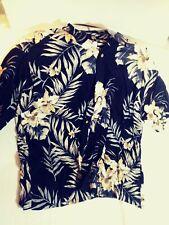 Puritan Mens 2Xl Hawaiian Shirt vtg Black Floral Short Sleeve Button