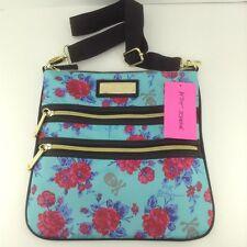 Women's BETSY JOHNSON Skull Roses Double Zip CROSSBODY Bag - $68 MSRP - 10%