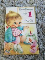 Vintage Happy Birthday 1 Year Old Greeting Card Baby Blue Jacket Pink Duck Cake