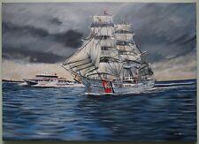 Original Oil Painting USA COASTGUARD Maritime Sailing Ship Boat by DAVID DONNAN