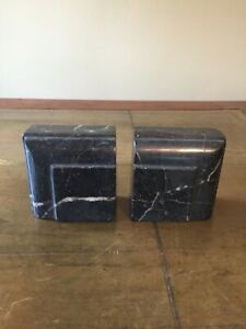 Art Deco machine age marble bookends