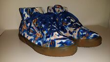 SUPERGA Velour Velvet Batik High Top Ankle Shoes Sneaker 7.5 Womens 6 Mens Blue