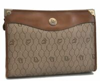 Authentic Christian Dior Honeycomb Clutch Bag PVC Beige Brown CD B6637