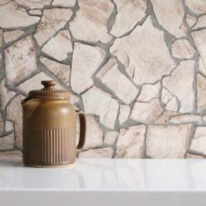 Stone Mosaic Brick Wallpaper | Cream/Beige