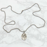"""Saint St Christopher Silver Plated Italian Medal Pendant Necklace 24"""" Chain"""