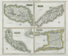 Grenada, Tobago, Trinidad & Curaçao. West Indies Caribbean. THOMSON 1830 map