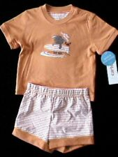 NWT CARTERS Orange Surfer Dog/Crab Shorts & Top Set TWINS 6 mo