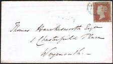 1841 1d Rojo da Azul 194 CHARMOUTH a Weymouth Danzig Rareza D Gato £ 750.00.