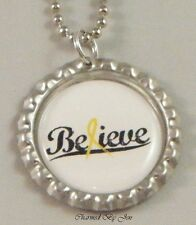 "New SUICIDE Awareness ""BELIEVE"" Yellow Ribbon Bottle Cap Ball Chain Necklace 24"""