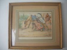 American Artist Joseph M.Finkle Framed Watercolor- Native Americans in Headdress