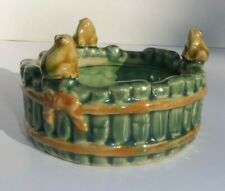 Mint Vintage Majolica Pottery Frog and Bamboo Ashtray Bowl Planter Stamp B - 457