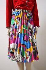 Rock skirt plisado Pop Art Avantgarde multicolor rodilla Lang 90´s True vintage 90er