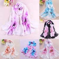 Women's Floral Chiffon Pretty Long Soft Scarf Ladies Wrap Shawl Stole Scarves
