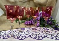 West Virginia Glass Cranberry Rose Lustre Optic Bowl Clear Stem Water Goblet x 5