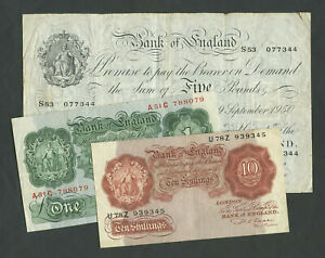 BANK OF ENGLAND  Beale  1950 WHITE £5 £1 10 sh  TYPE SET   Banknotes