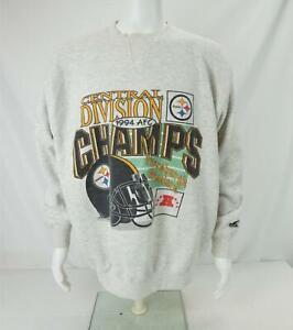 VTG 1994 Starter NFL AFC Champs Pittsburgh Steelers Sweatshirt Gray Men's XL