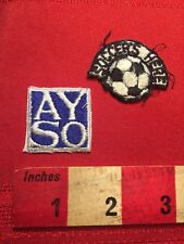 2 Small SOCCER Patches Sport Patch Lot - SOCCER'S HERE & AYSO 81WR