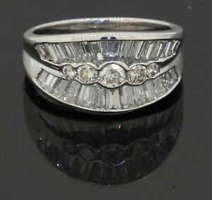 Platinum 2.20CT VS1/F diamond cluster cocktail ring size 6.5