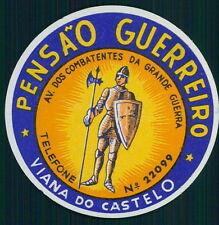PENSAO GUERREIRO Hotel old luggage label VIANA DO CASTELO Portugal warrior