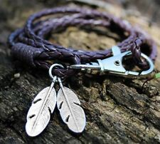 Coffee Leather Friendship Braided Bracelet 4 layer Wrap Silver Feathers