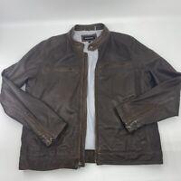 Brown Leather Jacket Mens Size XL Black Rivet