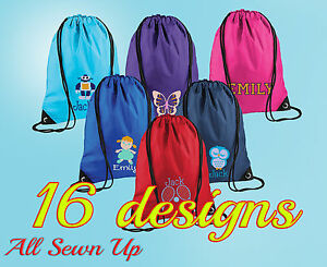 Embroidered Personalised PE Drawstring Bag, Gymsack, Swimming, School