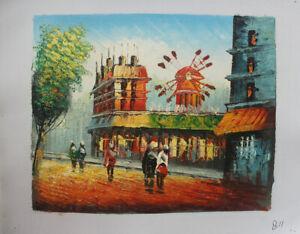 Paris Street Moulin rouge Hand Painted Landscape Oil Painting Wall Art Decor B11