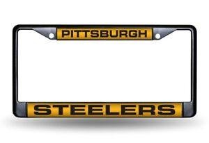 Pittsburgh Steelers Metal Laser Cut License Plate Black Frame