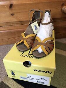 "*BNIB* Fly London Dallia ""Dory"" Orange Leather Sandals Ankle Strap Size 39 6"