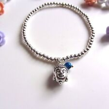 Silver ball beads yoga Bracelet  with Lucky Buddha charm stacking Boho
