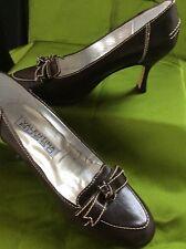 Tribunal de Cuero Marrón Casual Zapatos De Oficina 4/37 Crema Top Stitch Valentina Russo