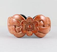 Rust Red Orange bangle bracelet carved wood look plastic hinged wide cuff flower