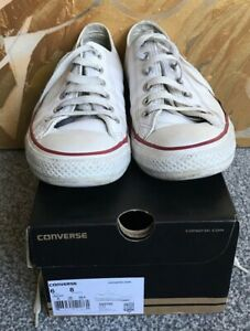 CONVERSE CHUCK TAYLOR OX WHITE LEATHER TRAINERS SHOES SIZE UK6 / EUR 39