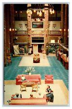 Glacier National Park MT postcard Lodge lobby interior