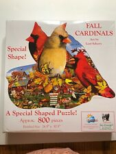 FALL CARDINALS 800 Pc Special Shaped Jigsaw Puzzle Art by Lori Schory Pre-Owned