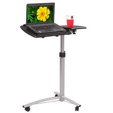 Adjustable Angle Height Rolling Laptop Desk Cart Bed Hospital Table Black