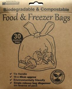 Organic Biodegradable & Compostable Eco Friendly Food Freezer Bags Pack 30