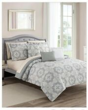 10 Pieces/ sheets - Comforter King Set Bed in a Bag Reversable Gray / Beige