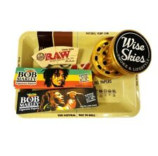 BOB MARLEY RASTA RAW TRAY SET GRINDER SMOKING ROLLING PAPER CONE TIPS BUNDLE UK