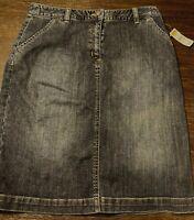 NEW NWT Talbots Petites Blue Denim Knee Length Mini Skirt Size 4 4P MSRP $58