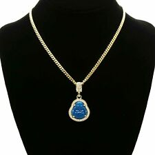 "Men's 14k Gold Plated Blue Resin Buddha Pendant 3mm 24"" Cuban Link Chain"