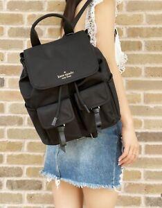 Kate Spade Carley Black Nylon Large Flap Backpack Drawstring Cargo School Bag