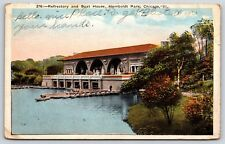 Refrectory & Boat House Humboldt Park in Chicago, Illinois White Border Postcard