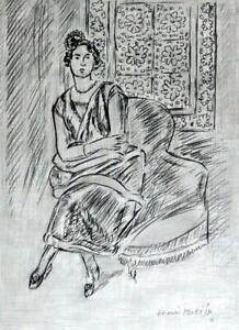 HENRI MATISSE / Authentic Pencil Graphite on Paper, Drawing Signed & Dated. 31