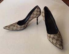 Gucci Canvas Bamboo Heels Pumps Italy Size 7B Original Retail @ $525