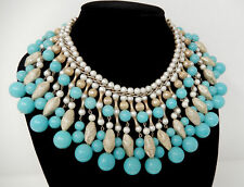 Vintage Egyptian Revival Turquoise Pearl Gold Tone Beaded Bib Collar Necklace