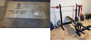 Marcy Adjustable Olympic Weight Bench with Leg Developer and Squat Rack Home Gym