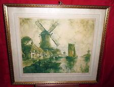 Vintage Framed Color Etching - River In Flanders - A.L. Mettel