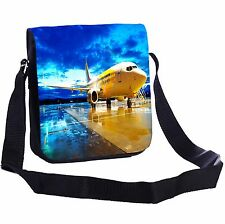 Passenger Airplane In The Dusk Small Cross-Body Shoulder Bag Handy Size